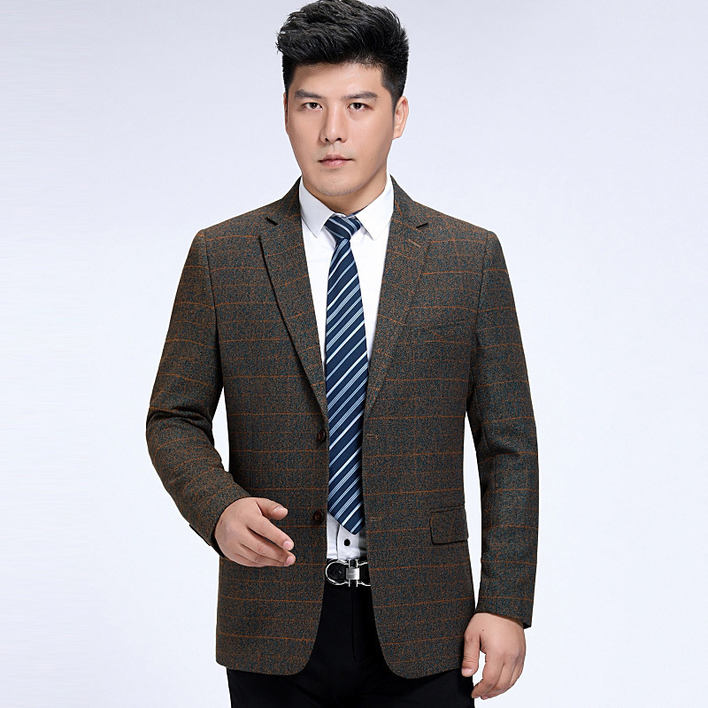 Autumn and winter mens suit fashion leisure middle aged wool single suit plaid coat one hair substitute one double breasted