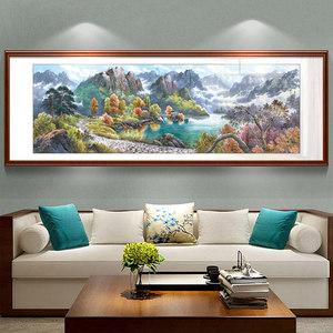 山水画风水靠山客厅装饰画办公室沙发背景墙壁画国画聚宝盆挂画