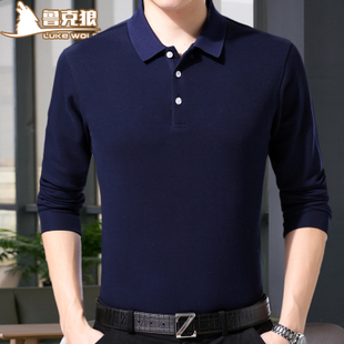 春季中老年人长袖t恤土纯棉爸爸装丅血衬衫领薄款中年男士Polo衫