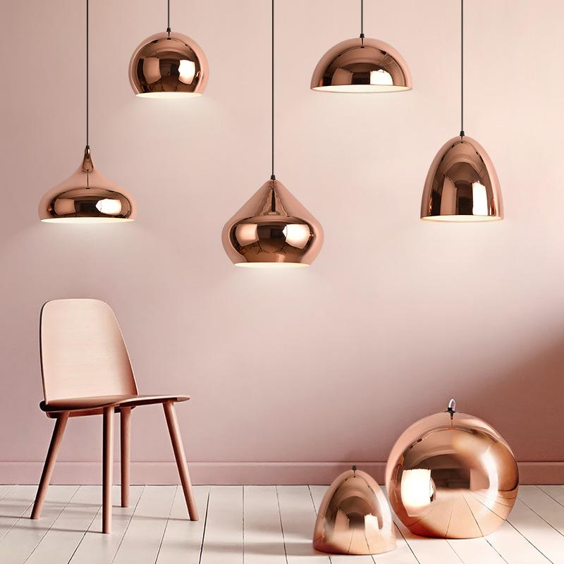 北欧现代简约金色圆形单头餐厅吊灯 铁艺超市连锁店灯具灯饰