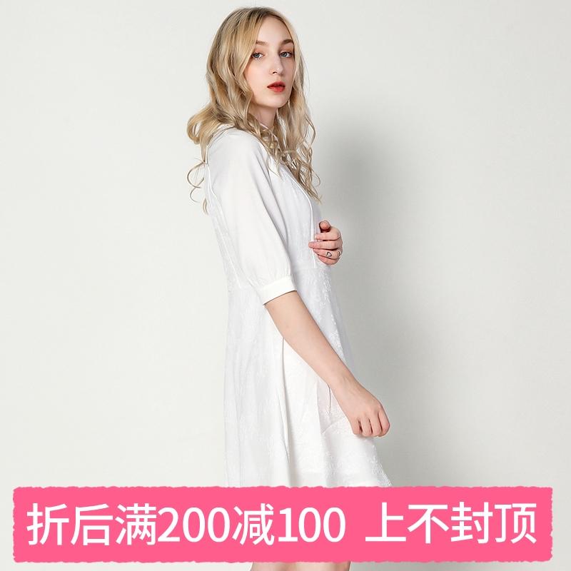 奥特莱斯品牌折扣 DYK秋装新款撤柜正品 甜美纹理印花收腰连衣裙