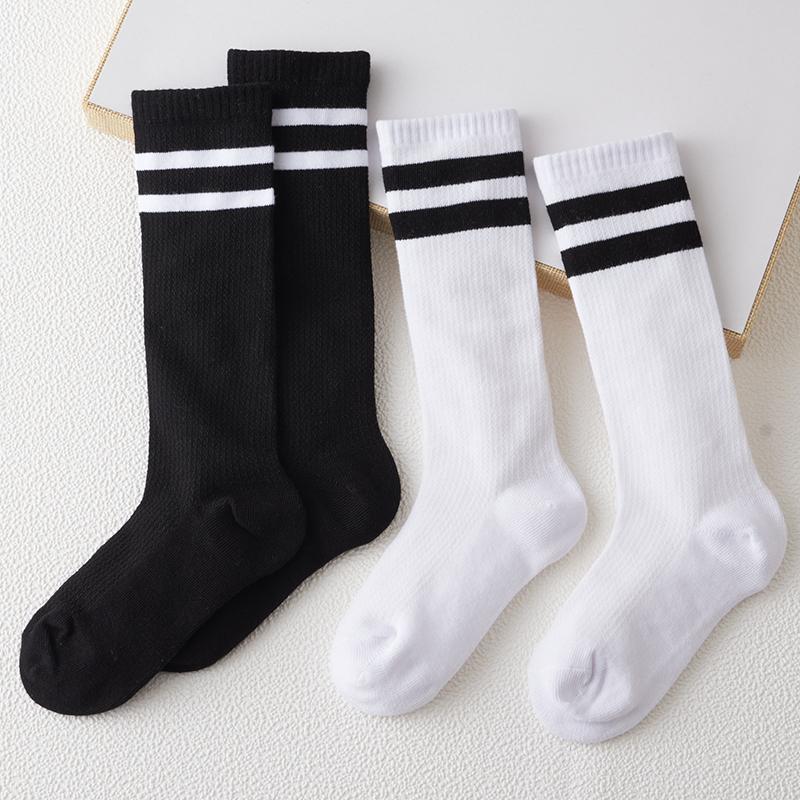 儿童中筒袜纯棉夏季网眼薄款男女童白色黑二杠校服袜半筒袜不过膝