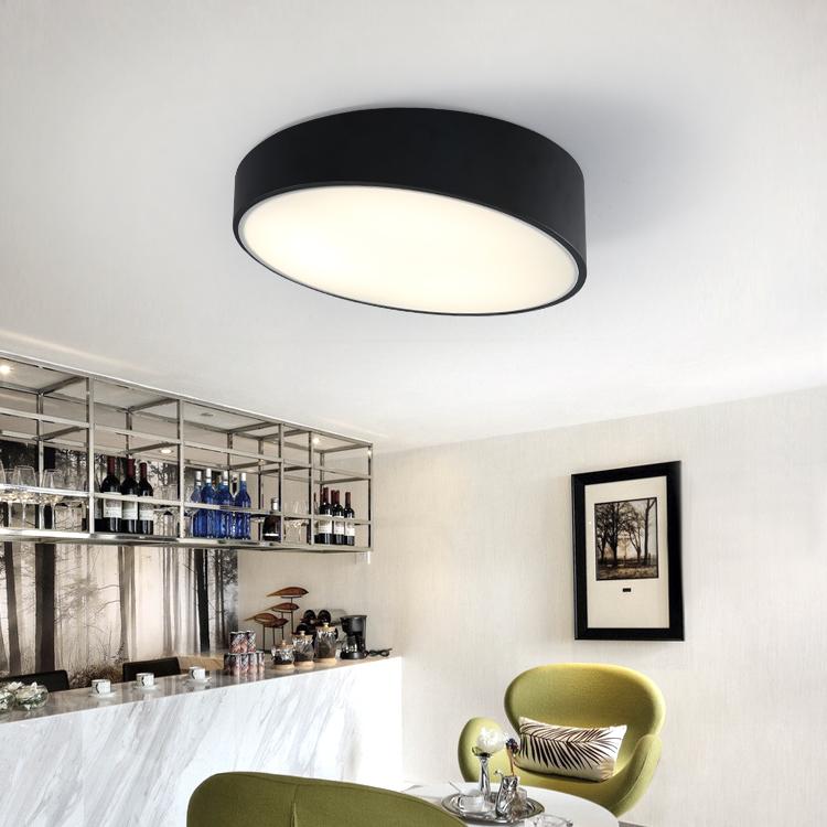led吸頂燈卧室燈北歐斜邊圓形黑色現代簡約藝術書房燈飾客廳燈具