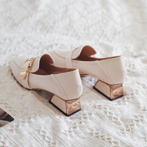 粗跟单鞋女2021新款春秋季百搭女鞋高跟鞋英伦风小皮鞋中跟乐福鞋