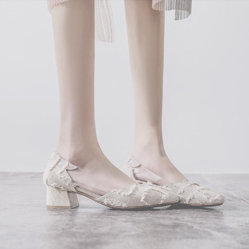 单鞋女鞋2019新款秋鞋尖头中跟粗跟浅口低跟百搭高跟鞋仙女晚晚鞋