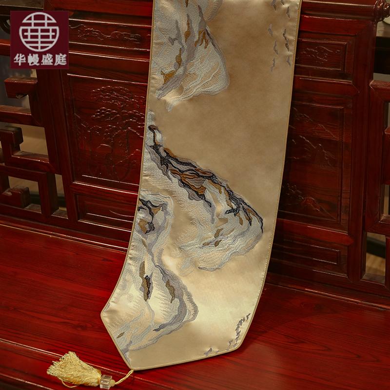中国风现代简约桌旗新中式桌旗定制餐桌电视柜茶几鞋框桌旗布艺