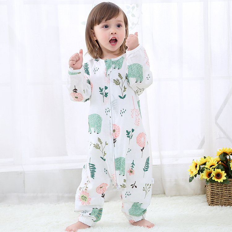 Childrens sleeping bag spring and summer thin pure cotton double-layer gauze baby split leg baby anti kick quilt long sleeved air conditioning clothes