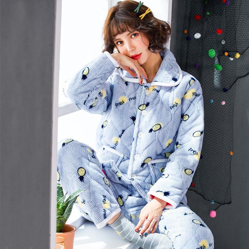 睡衣女冬三层加厚珊瑚绒夹棉
