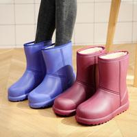 冬季加绒雨鞋女保暖中筒棉雨靴加厚套鞋防滑加棉水靴防水胶鞋水鞋