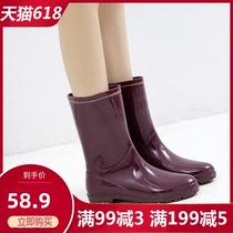 日式雨鞋女中筒雨靴时尚款水靴水晶防水工作胶鞋外穿防滑水鞋套鞋