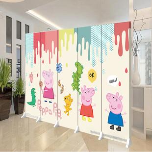 卡通屏风隔断墙简约儿童房间卧室现代折叠移动推拉布艺双面背景墙