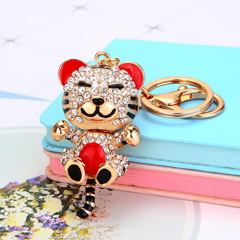 11月08日最新优惠水钻水晶小老虎汽车钥匙扣女韩国可爱创意包包挂件钥匙链圈小礼品
