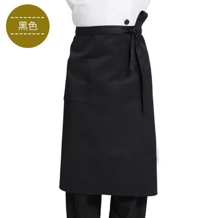12-02新券喜佳优酒店厨师男士半身围裙餐厅厨房专用白色半截防水防油工作服
