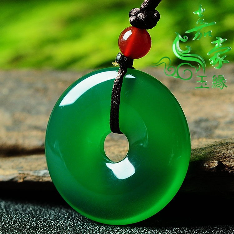 Natural green chalcedony safety clasp Agate Pendant Topaz pith safety ring semi gem mens and womens jade ring genuine special price