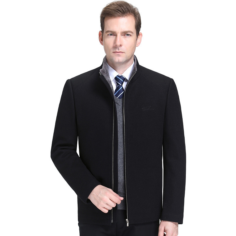 19 autumn and winter middle aged cashmere jacket mens stand collar casual cashmere thickened wool jacket mens father short