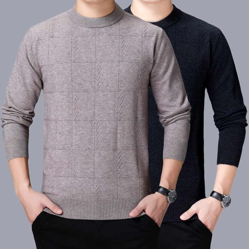 Cross border mens clothing 2020 winter new Korean mens cashmere sweater round neck versatile casual bottomed sweater mens clothing