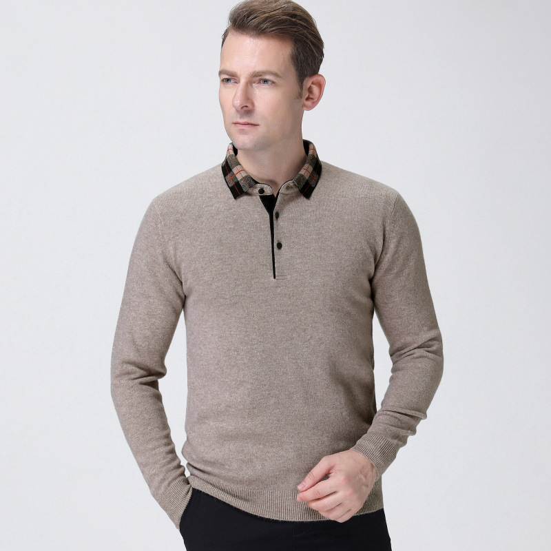 A lapel casual mens sweater thick middle-aged winter Pullover cashmere sweater mens bottomed sweater