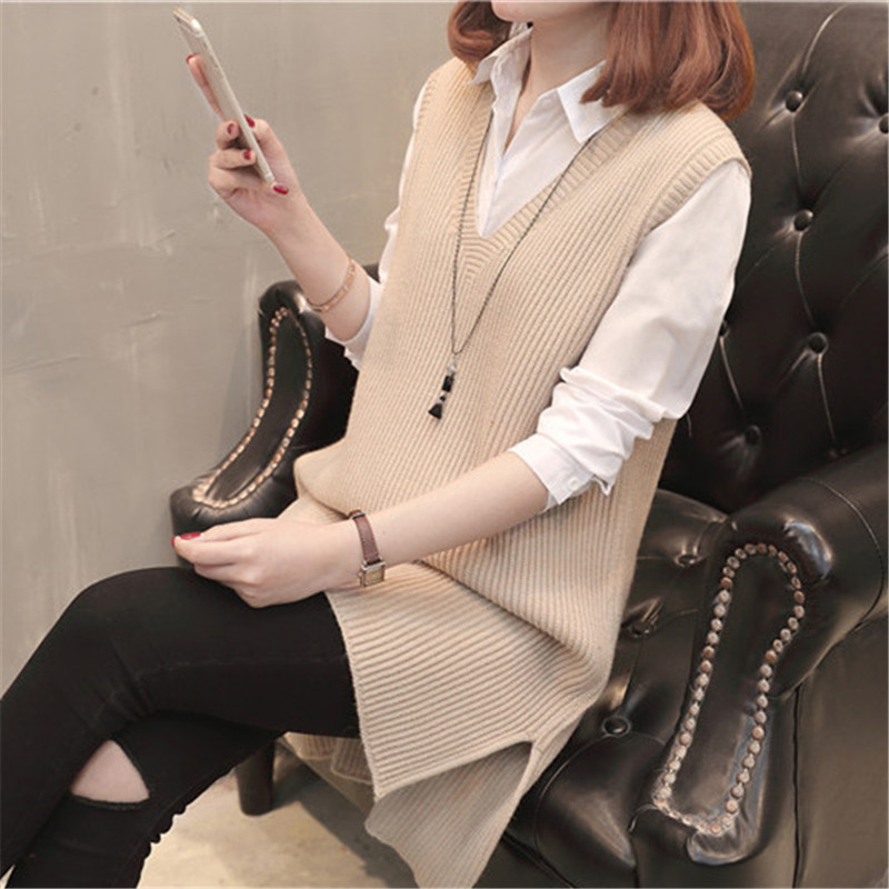 Spring and autumn Korean sleeveless sweater backing dress solid color V-neck loose medium length knitted vest vest womens large
