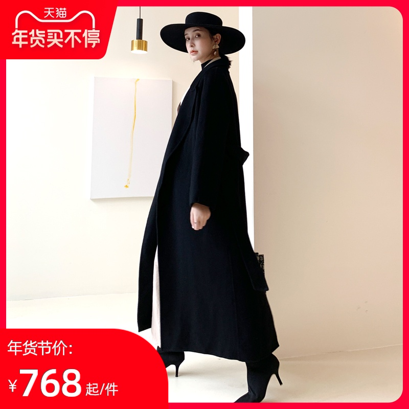 Double-faced fleece woolen coat women's popular black high-end mid-length 2020 new double-faced cashmere coat women
