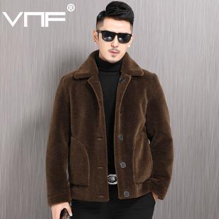 海宁皮毛男真羊羔毛羊剪绒颗粒男士皮草短款双面穿一体皮夹克外套品牌