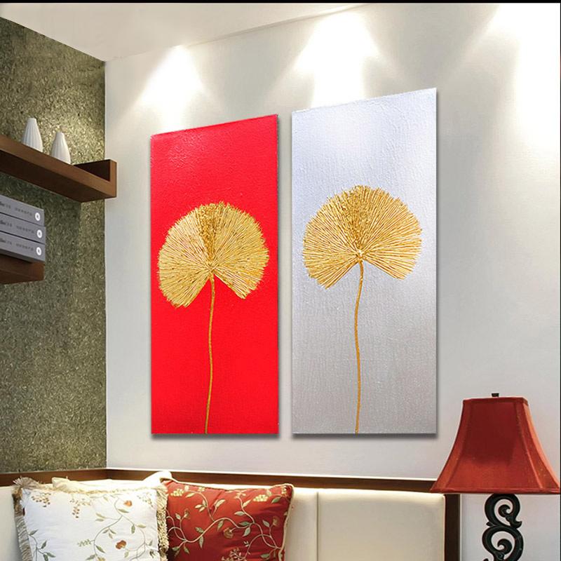 异丽现代中式装饰画客厅沙发背景墙餐厅玄关走廊竖版墙面手绘挂画