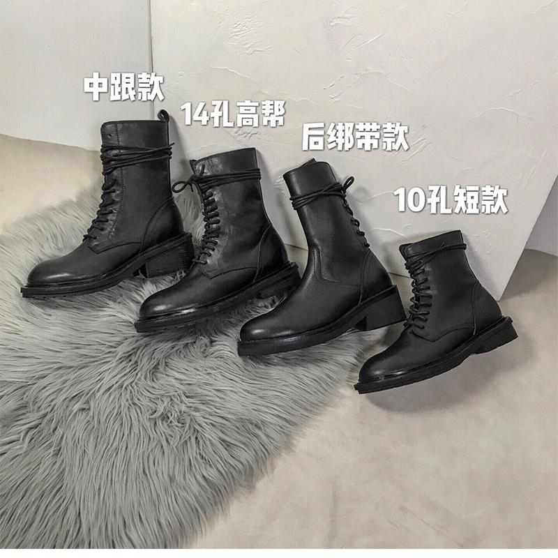 ANN马丁靴女英伦风2021新款夏季薄款真皮春秋单靴黑色厚底短靴子