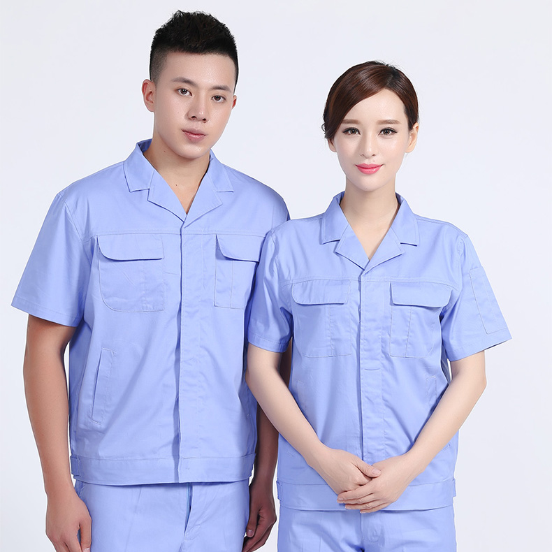 Wuhan cotton work clothes short sleeve suit auto repair short sleeve work clothes electrician uniform welder work clothes embroidered logo