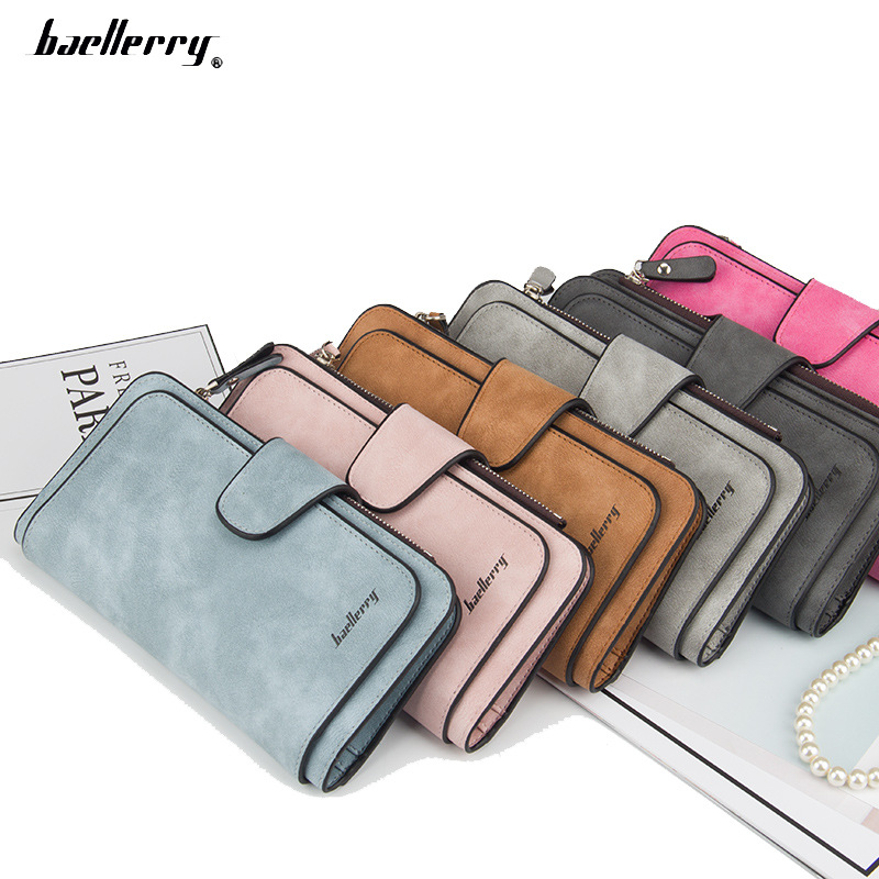 Baellerry new buckle womens Korean wallet three fold multi Card Wallet frosted two color fabric women