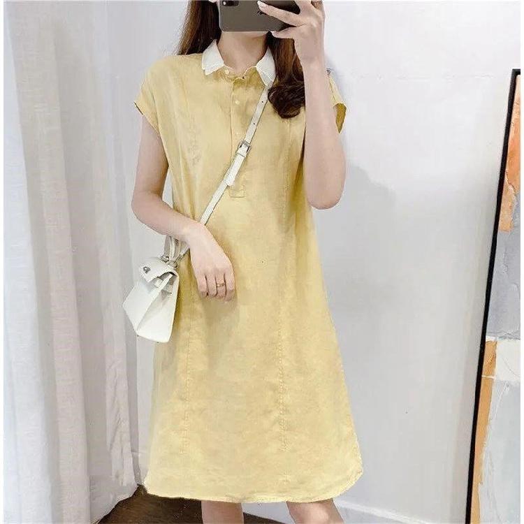2021年夏季棉质娃娃领宽松文艺复古连衣裙日系显瘦遮肉大码裙子女