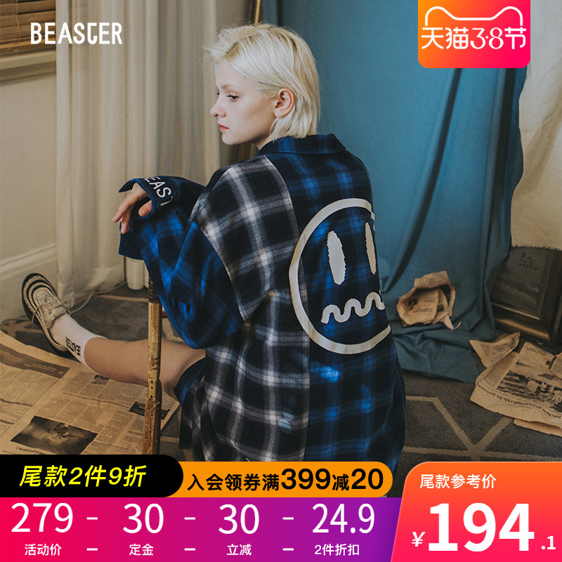 BEASTER Autumn 2019 New Couple Fashion Hip Hop Stitching Chequered Shirt Men's Outerwear Shirt Trend