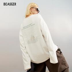 BEASTER 秋季新款情侣装国潮牌字母印花宽松长袖T恤男小众设计感