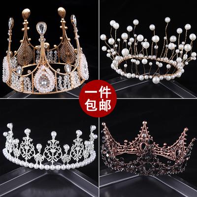 皇冠蛋糕装饰摆件珍珠皇冠满天生日头饰天鹅女王网红蛋糕装饰插件