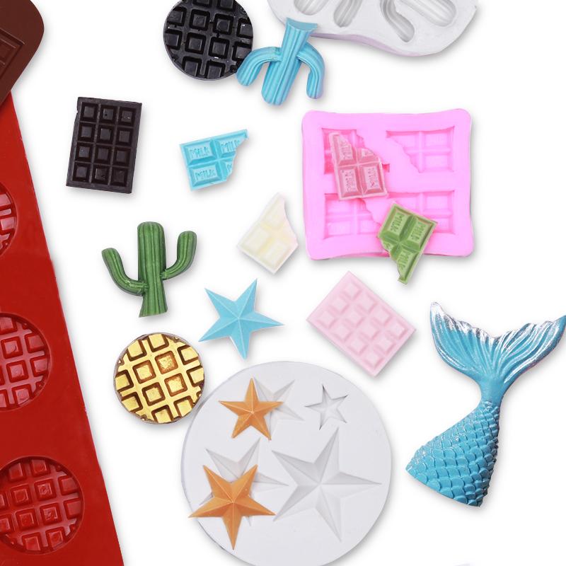 巧克力翻糖蛋糕模具五角星长格子华夫饼干浮雕数字立体爱心硅胶模
