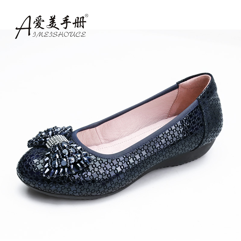 High grade mom shoes spring and summer soft sole low heel shallow mouth single shoes bow drill boat shoes flat bottom large size womens shoes four
