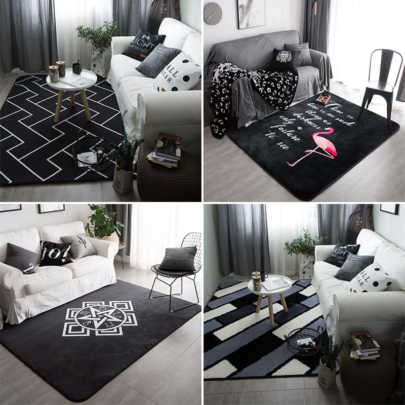 Нордический чёрно-белая полоска простой современный половик гостиная кофейный столик диван ковер спальня кровать край длинный коврик квадрат коврики