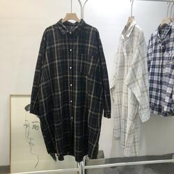 秋装韩版洋气慵懒大码宽松格子衬衫女中长款衬衣裙长袖薄外套上衣