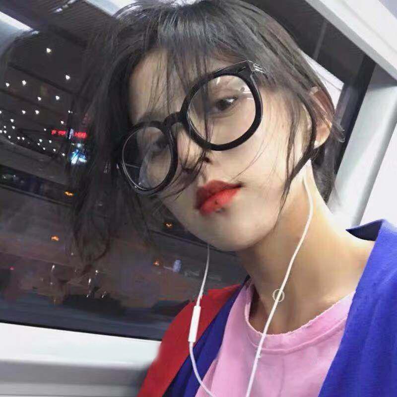 素颜黑框眼镜架女gm网红款黑色粗框平光镜大框圆脸小红书近视眼镜