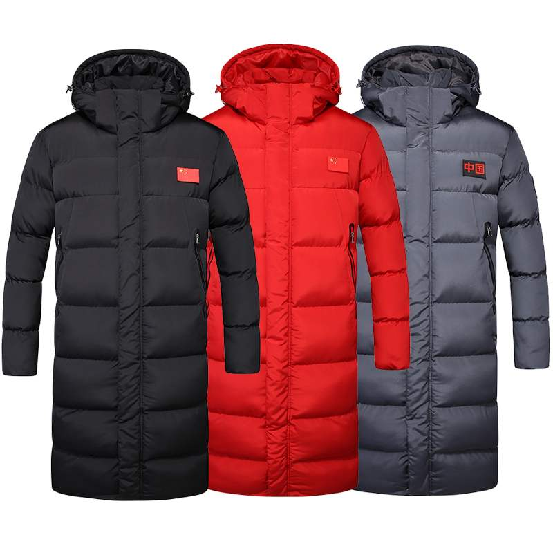 National team sports students down cotton sports coat mens long knee AON Snow Jacket mens and womens padded jacket