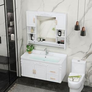 浴室柜组合卫浴柜吊柜简约欧式面盆柜洗手脸盆台盆柜洗漱台卫生间