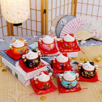 招财猫摆件小号创意家居办公室办公桌陶瓷装饰迷你摆件生日礼物