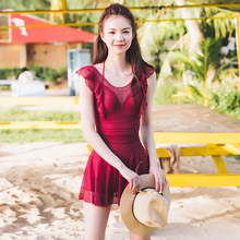 Red skirt swimming suit women's new South Korean hot spring show thin breast lace gather sexy vacation