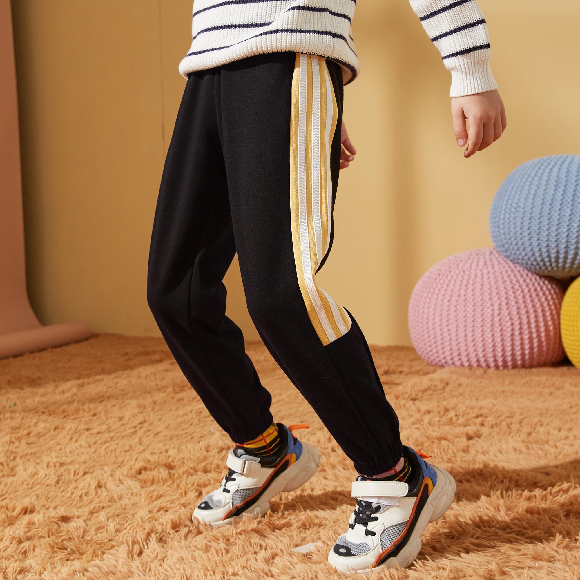 男童裤子2021冬装新品中大童儿童加绒加厚保暖男童运动裤潮