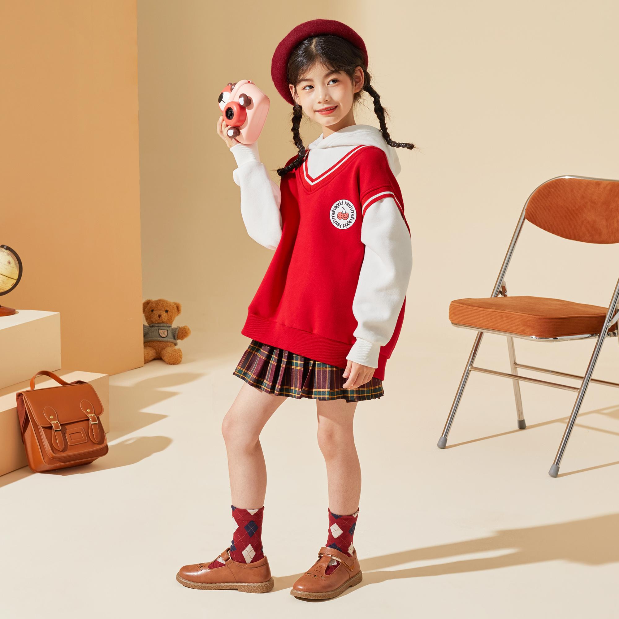 女童套装2021秋新款儿童甜美学院风假两件卫衣格子裙两件套潮
