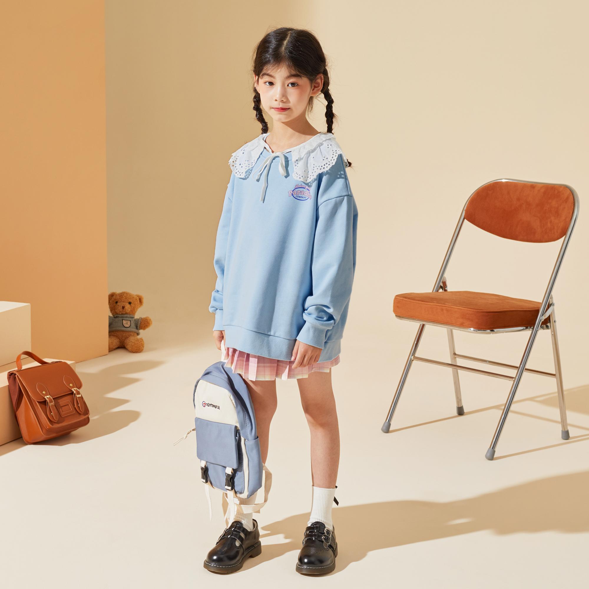 女童卫衣2021秋季新品中大童儿童圆领马卡龙色系甜美卫衣潮