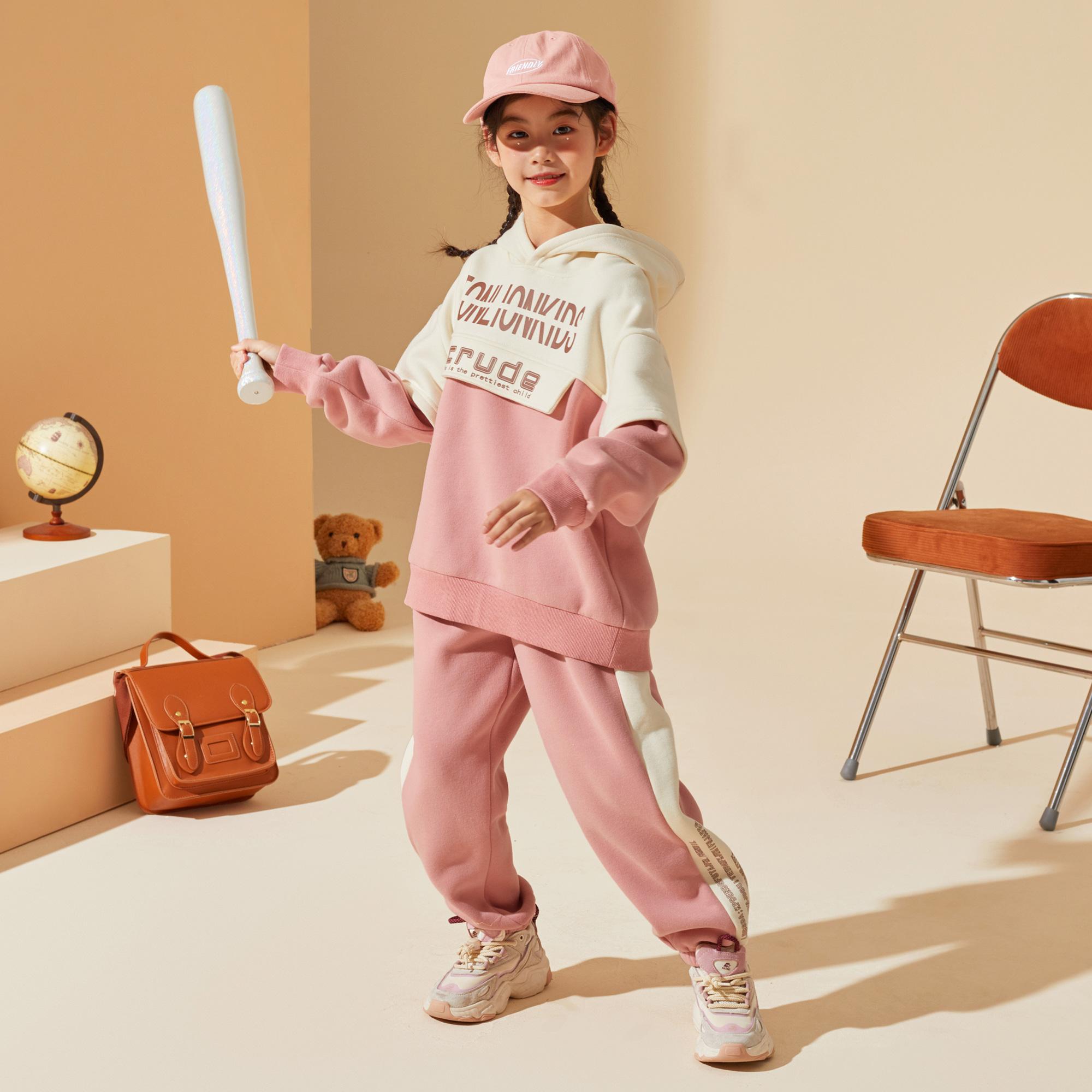 女童套装2021秋装新款中大童连帽运动洋气休闲儿童运动套装