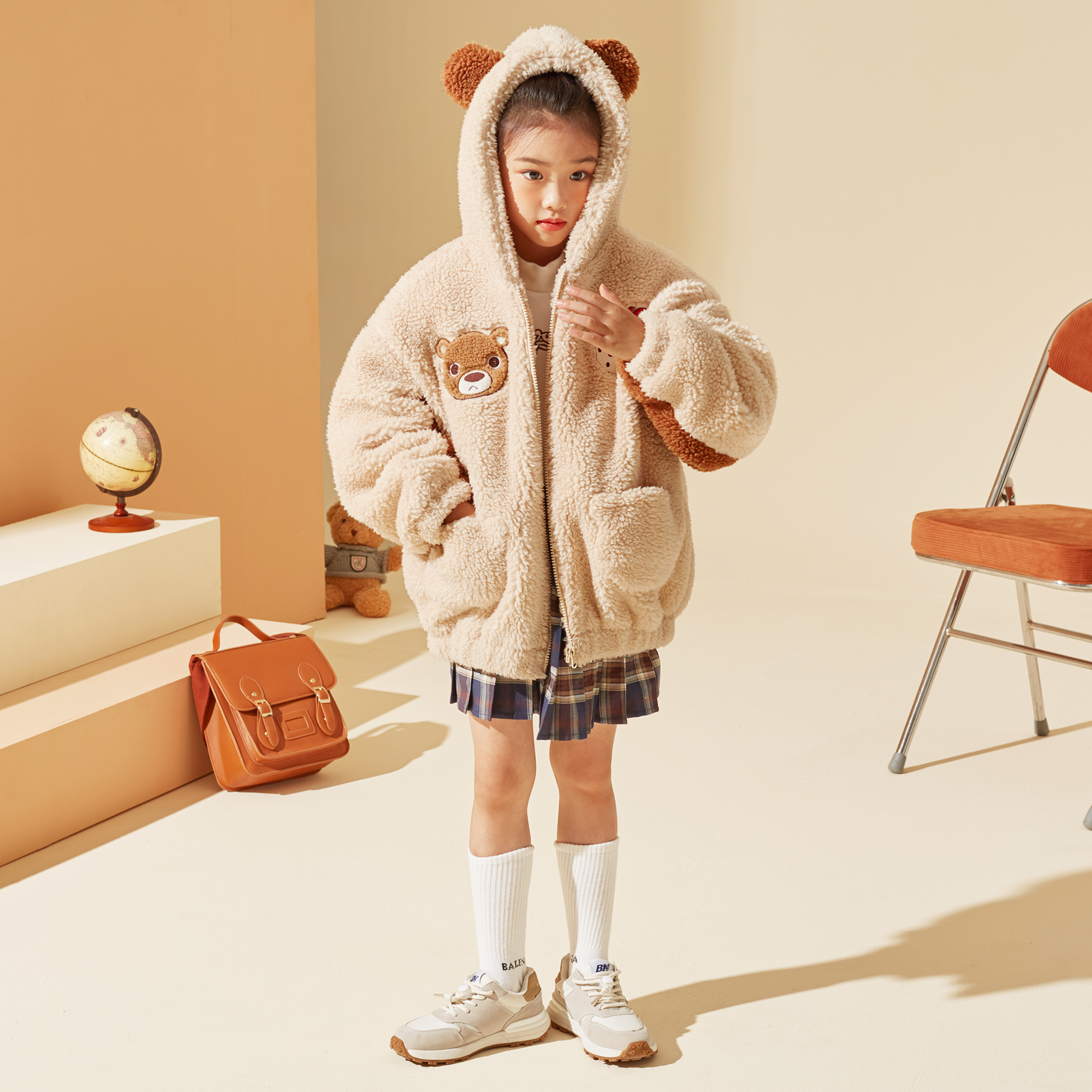 女童加绒外套儿童2021秋冬新款中大童羊羔加绒加厚保暖外套