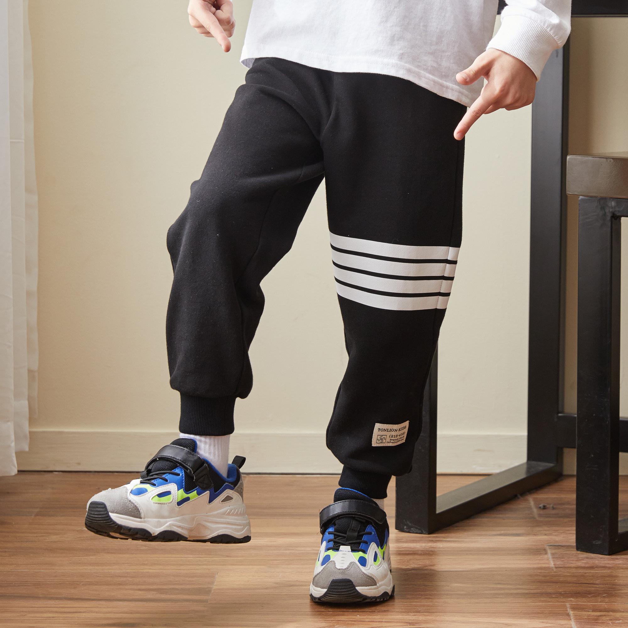 男童裤子2021冬装新款中大童儿童裤子加绒加厚男童运动裤潮