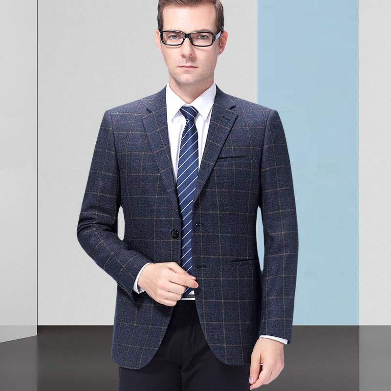 Autumn and winter mens suit fashion business middle aged wool single suit plaid coat one hair substitute one double breasted
