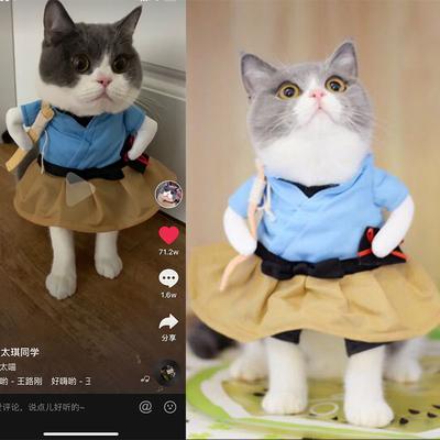 好嗨哟抖音同款衣服浦岛太郎喵咪搞笑装搞怪装猫咪衣服猫咪直立装