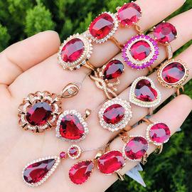 天然巴西鸽血红卢比来红绿碧玺戒指女18K玫瑰金镶嵌钻石宝石